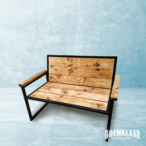 Tuinbank staal en hout