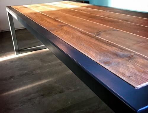 Vergadertafel staal & steigerhout